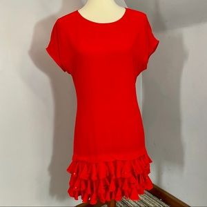 Ted Baker Red Cocktail Dress w/ Ruffles & Sequins